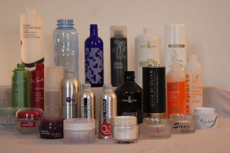 Kosmetik-Flaschen im Siebdruck